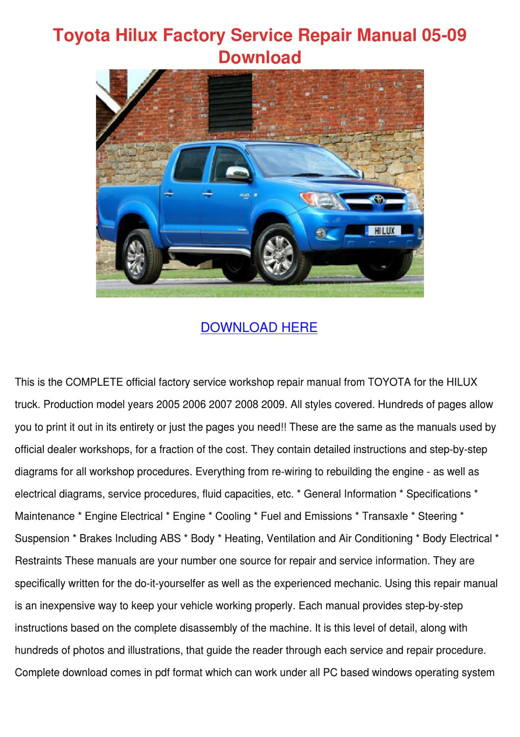 hight resolution of auto electrical wiring diagram hilux 2001 free