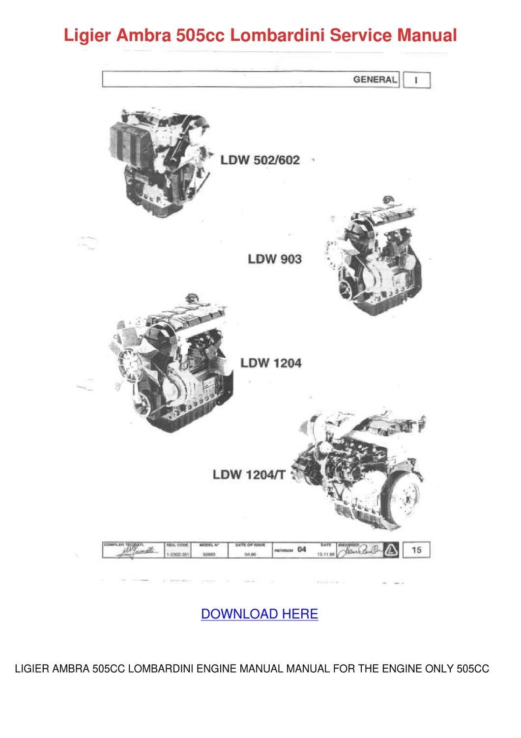 Lombardini 12ld477 2 Series Engine Workshop Service Repair