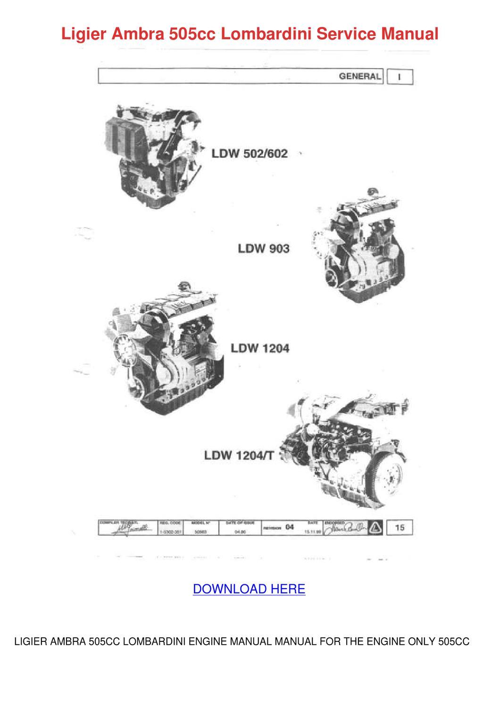 Ligier Ambra 505cc Lombardini Service Manual by Ingeborg