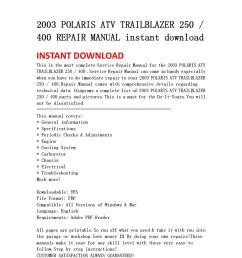 2003 polaris atv trailblazer 250 400 repair manual instant download by yu jiew issuu [ 1060 x 1500 Pixel ]
