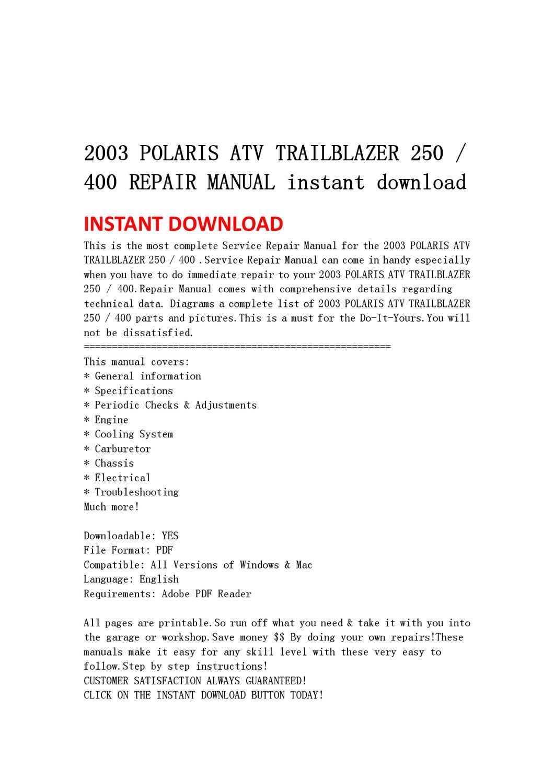 hight resolution of 2003 polaris atv trailblazer 250 400 repair manual instant download by yu jiew issuu