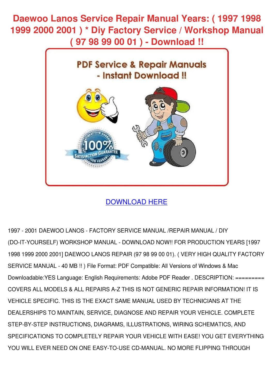 hight resolution of service manual 2001 daewoo lanos workshop manuals free
