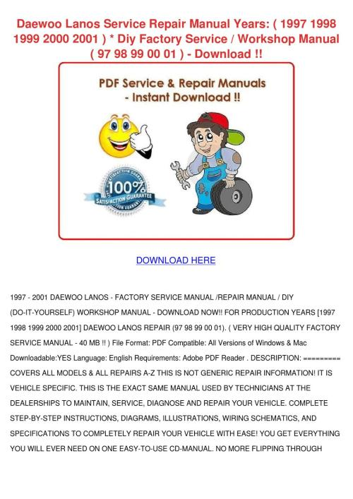 small resolution of service manual 2001 daewoo lanos workshop manuals free