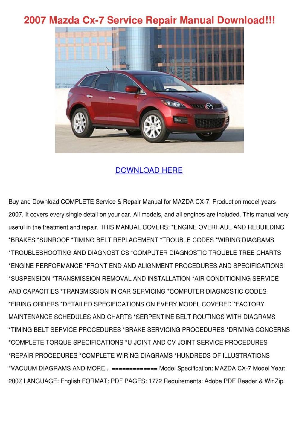 medium resolution of 2007 mazda cx 7 service repair manual downloa