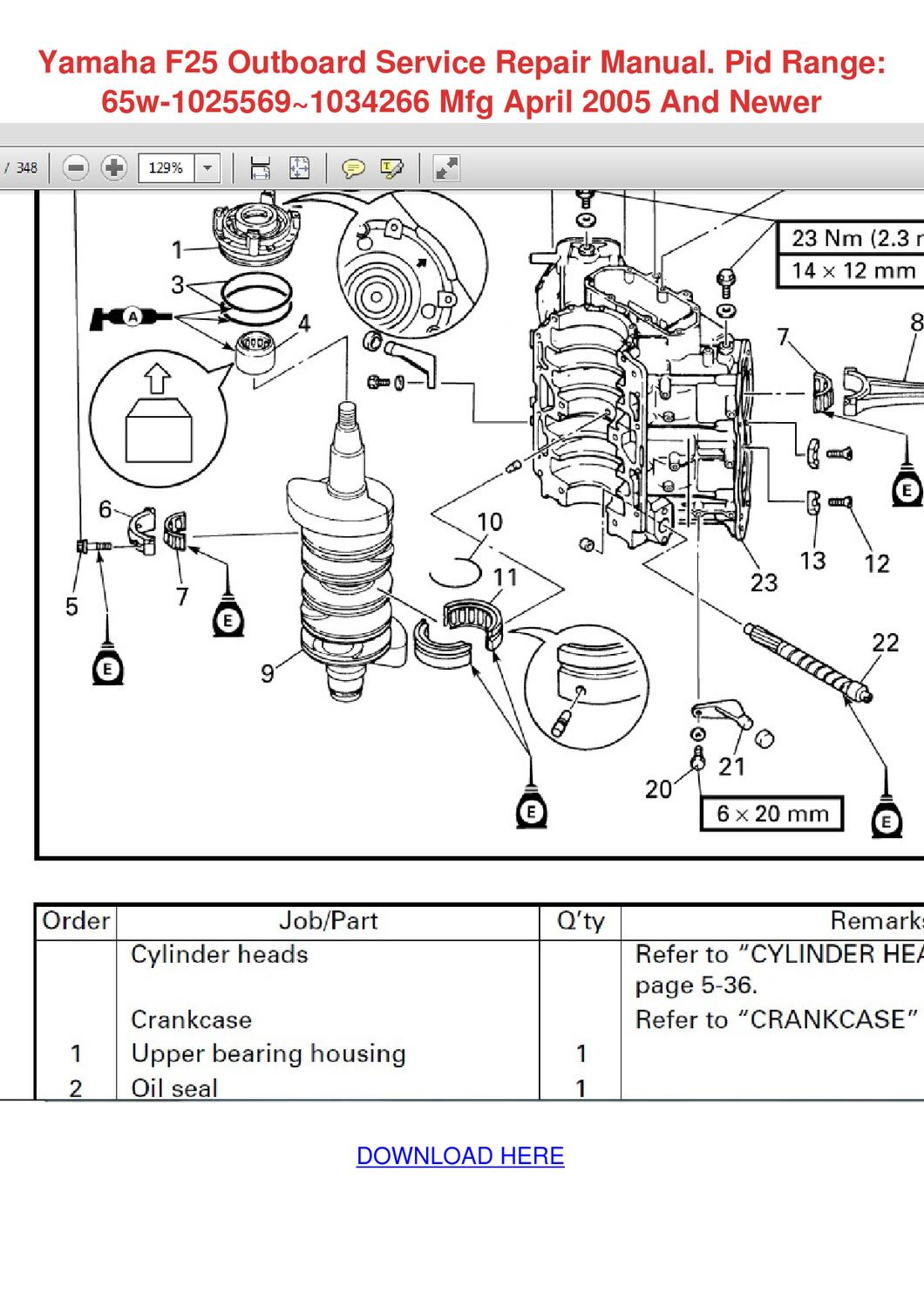 1988 Evinrude Parts Diagram Wiring Schematic Yamaha F25 Outboard Service Repair Manual Pid By Yung