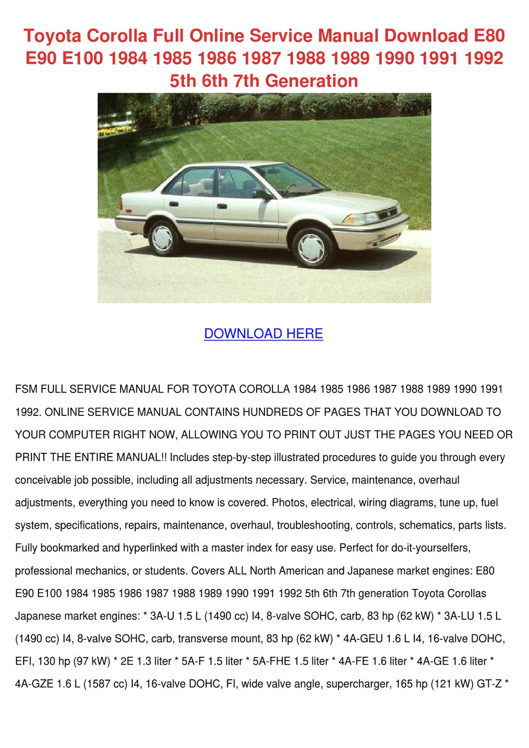 hight resolution of toyota corolla full online service manual dow by willette galbavy issuu
