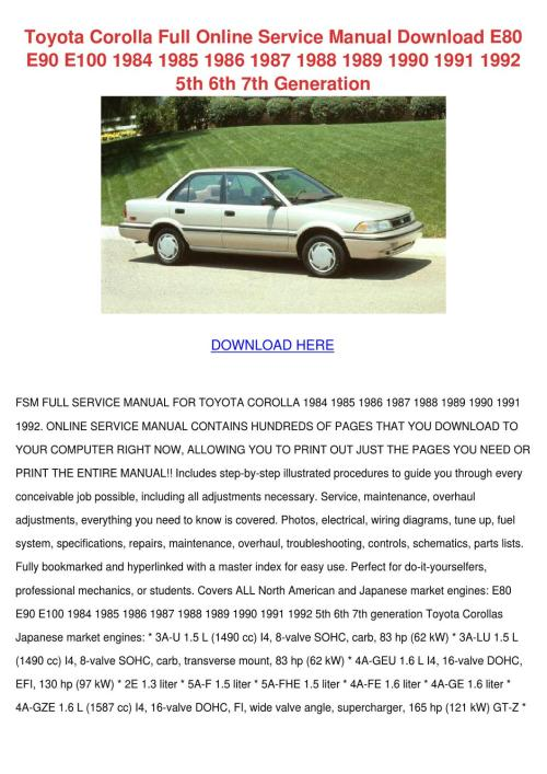 small resolution of toyota corolla full online service manual dow by willette galbavy issuu