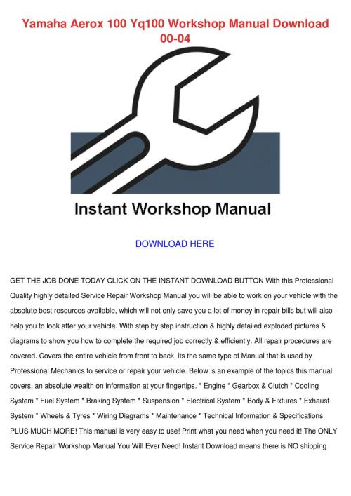 small resolution of page 1 yamaha aerox 100 yq100 workshop manual downlo by willette galbavy yamaha aerox