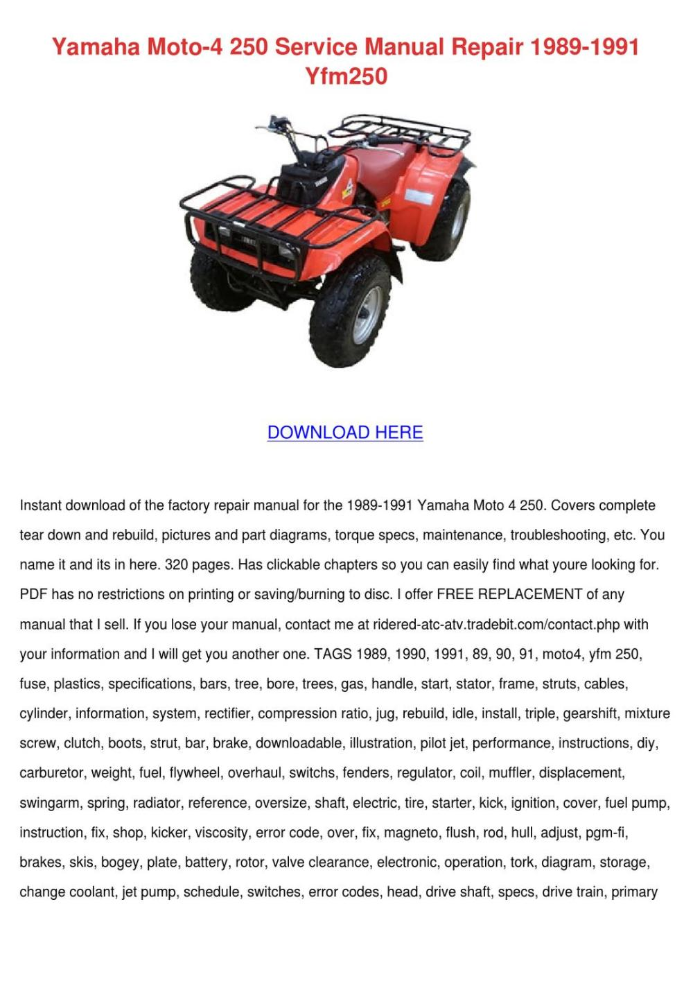 medium resolution of yamaha moto 4 250 service manual repair 1989