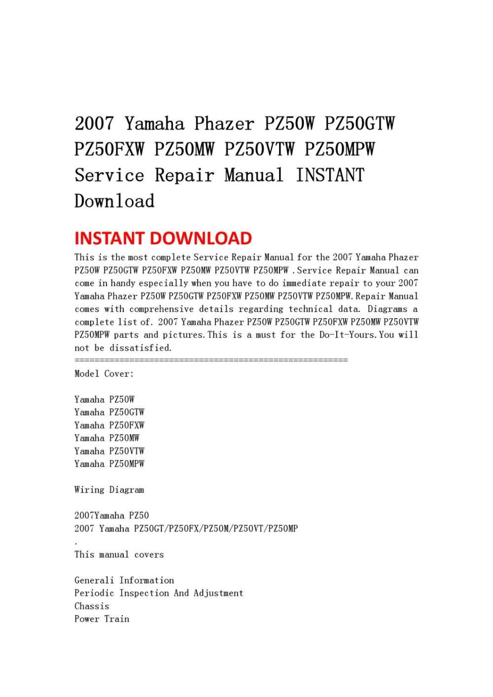 medium resolution of 2007 yamaha phazer pz50w pz50gtw pz50fxw pz50mw pz50vtw pz50mpw 2007 yamaha phazer wiring diagrams
