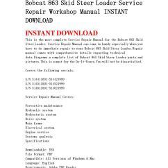 Bobcat 863 Parts Diagram Trailer Tail Light Wiring Skid Steer Loader Service Repair Workshop