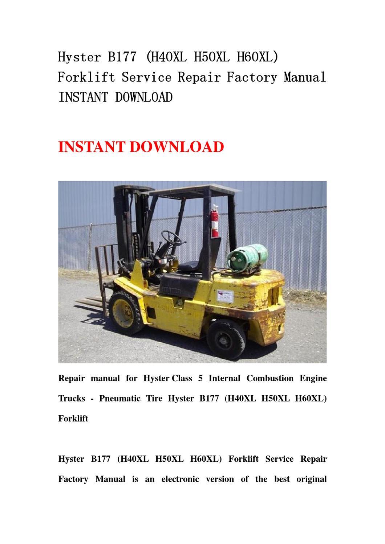 hyster 60 forklift wiring diagram battery level indicator circuit b177 h40xl h50xl h60xl service repair