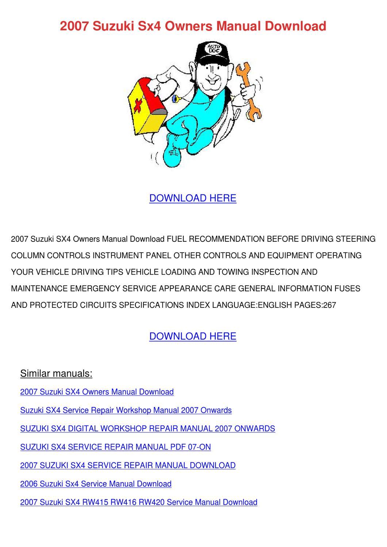 hight resolution of 2008 suzuki sx4 owner manual