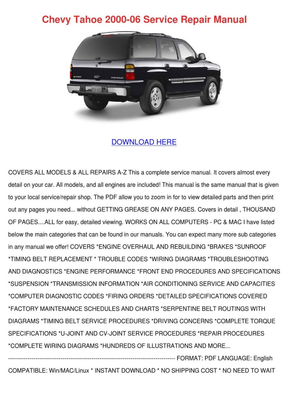 medium resolution of chevy tahoe 2000 06 service repair manual