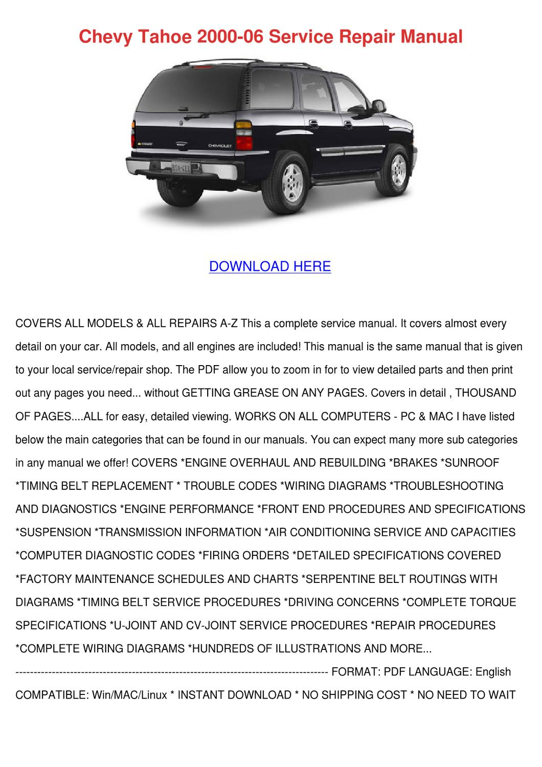hight resolution of chevy tahoe 2000 06 service repair manual