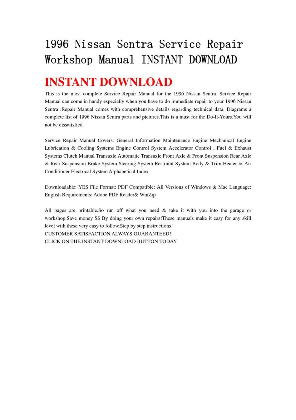 medium resolution of 1996 nissan sentra service repair workshop manual instant download by lin leiww issuu
