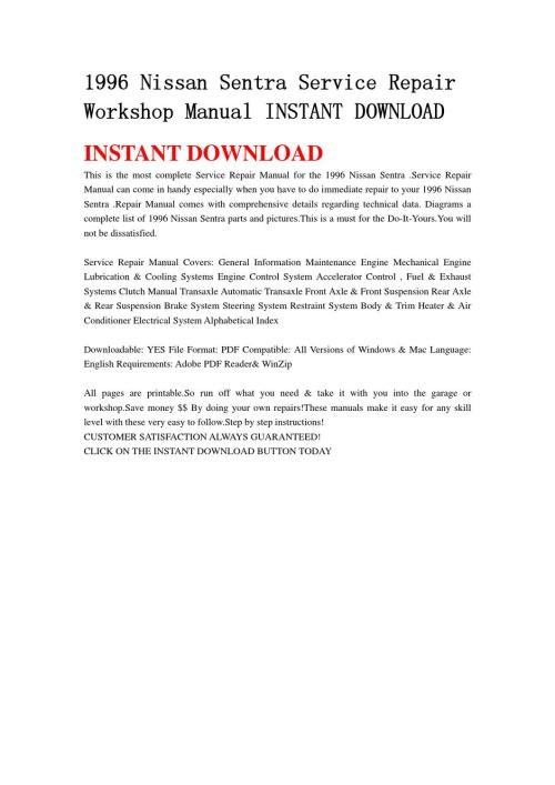 small resolution of 1996 nissan sentra service repair workshop manual instant download by lin leiww issuu