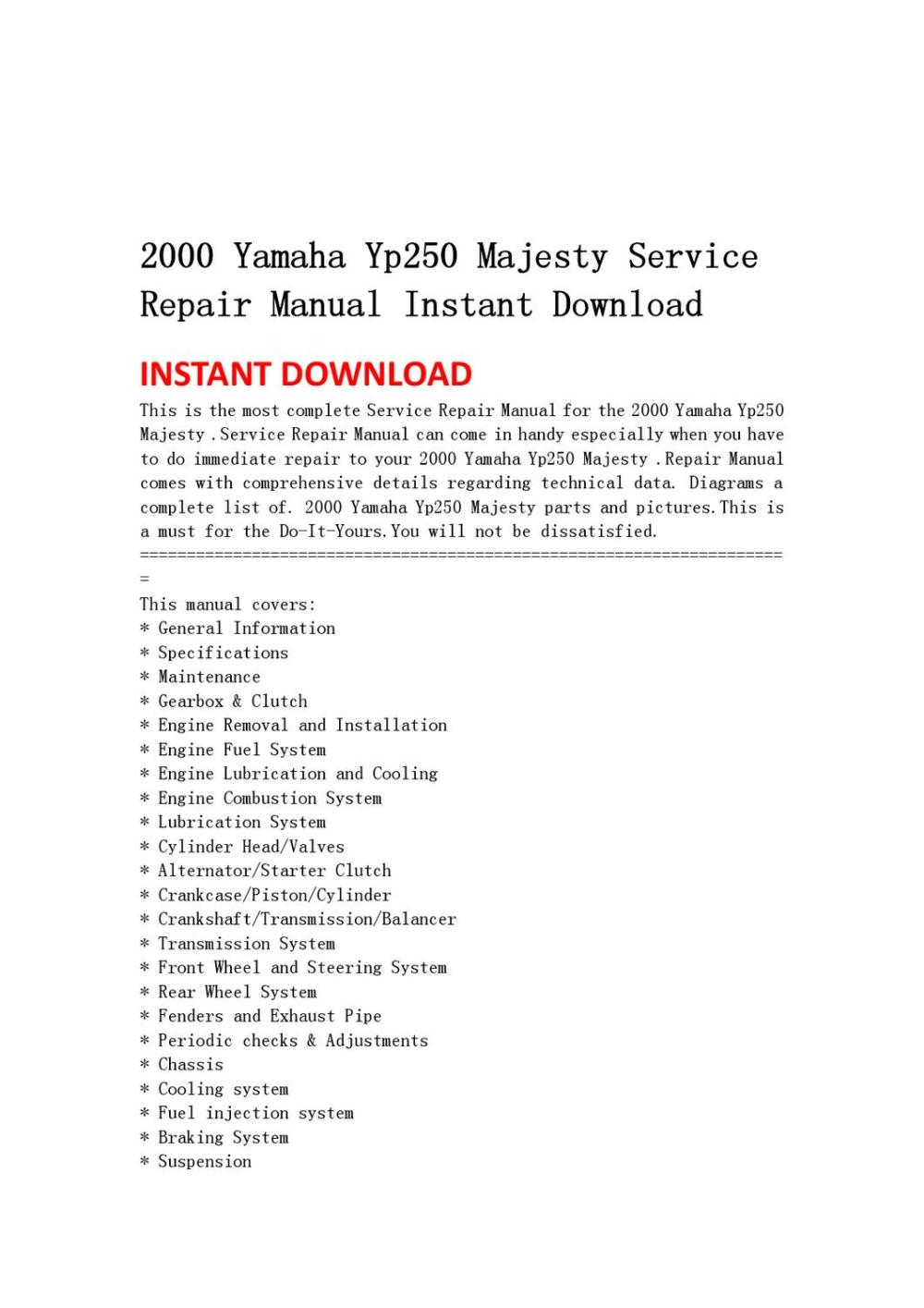 medium resolution of 2000 yamaha yp250 majesty service repair manual instant download by light switch wiring diagram 2000 yamaha