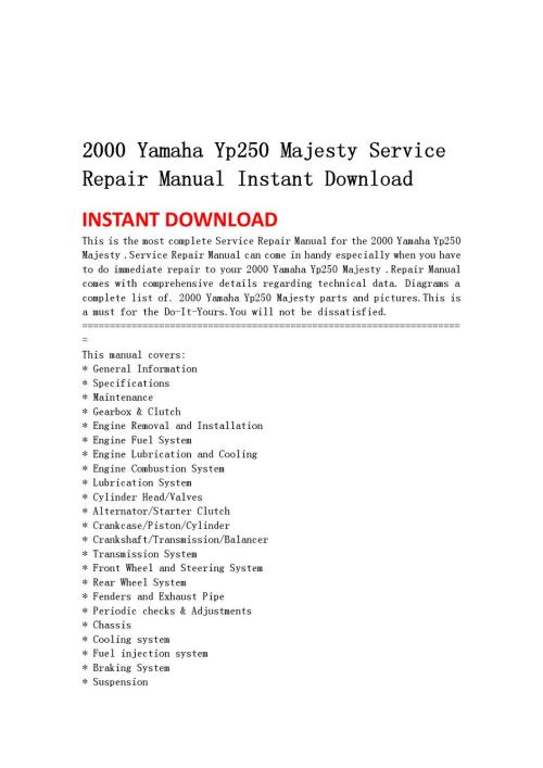 small resolution of 2000 yamaha yp250 majesty service repair manual instant download by light switch wiring diagram 2000 yamaha
