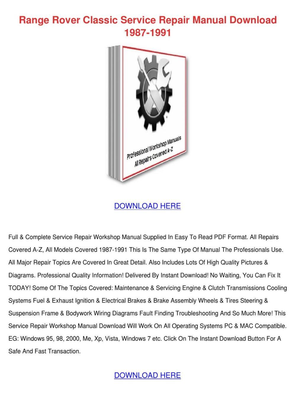 medium resolution of range rover classic service repair manual dow