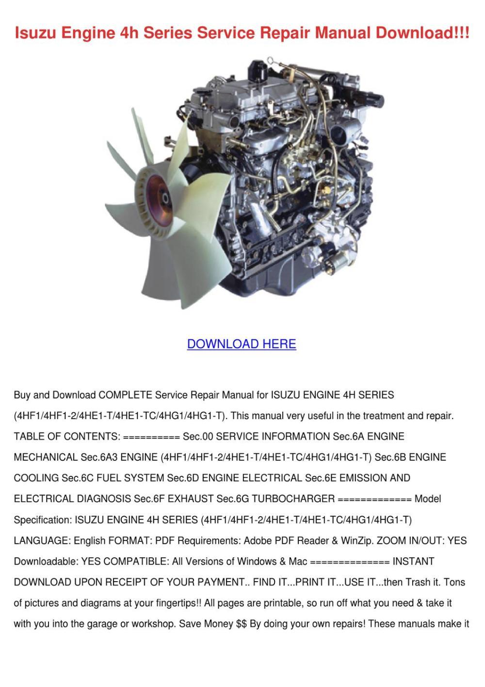 medium resolution of isuzu engine 4h series service repair manual