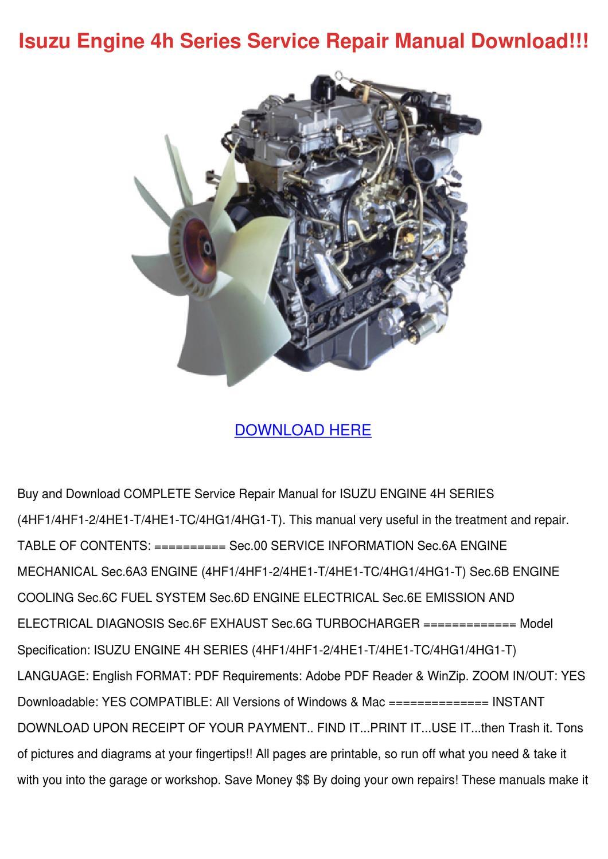 hight resolution of isuzu engine 4h series service repair manual