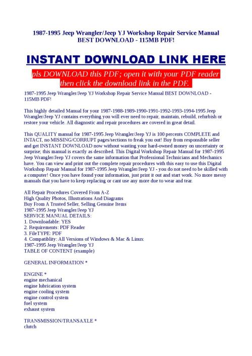 small resolution of 1987 1995 jeep wrangler jeep yj workshop repair service manual best download 115mb pdf