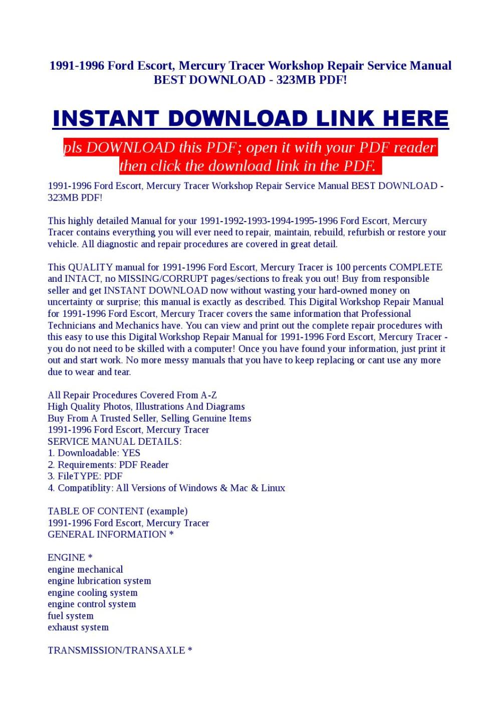 medium resolution of 1991 1996 ford escort mercury tracer workshop repair service manual best download 323mb pdf by kato syomo issuu