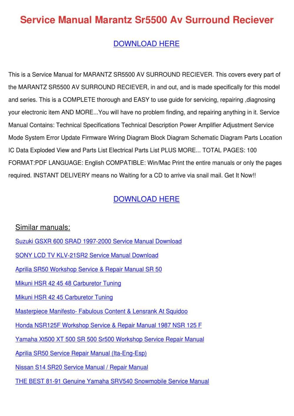 medium resolution of service manual marantz sr5500 av surround rec by alberthatuttle issuu