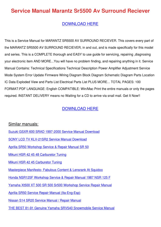 hight resolution of service manual marantz sr5500 av surround rec by alberthatuttle issuu