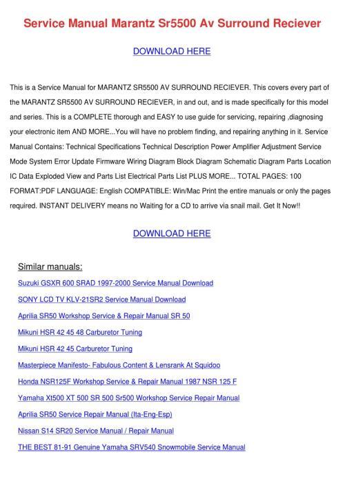 small resolution of service manual marantz sr5500 av surround rec by alberthatuttle issuu