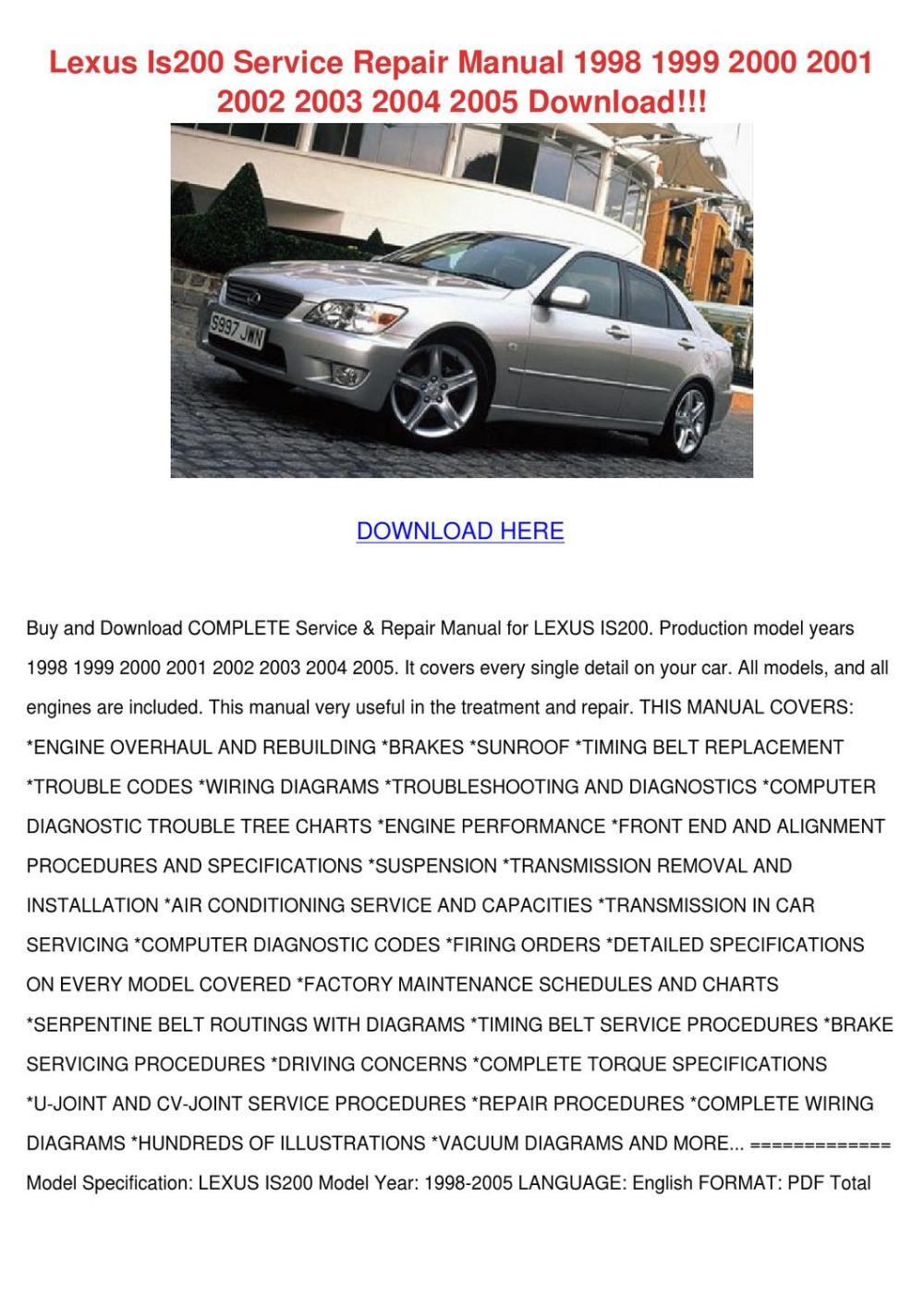 medium resolution of lexus is200 service repair manual 1998 1999 2