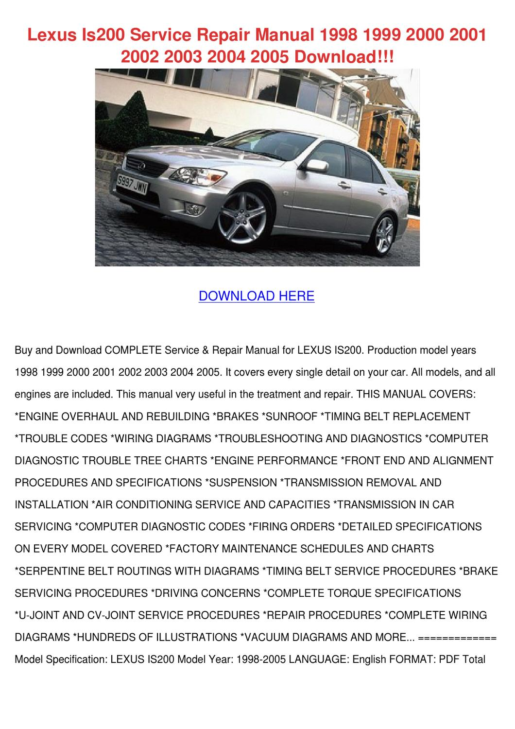 hight resolution of lexus is200 service repair manual 1998 1999 2