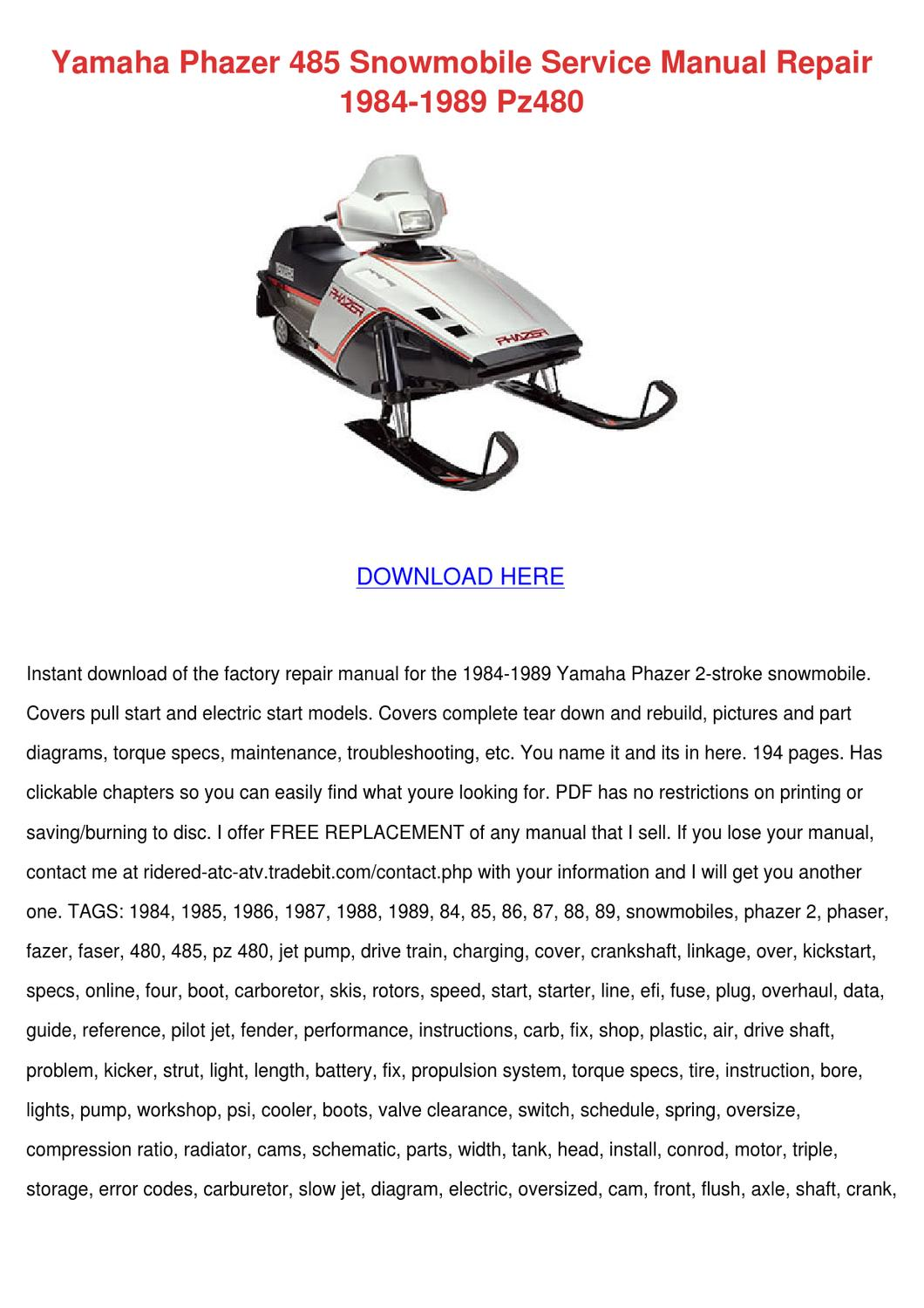hight resolution of yamaha phazer 485 snowmobile service manual r