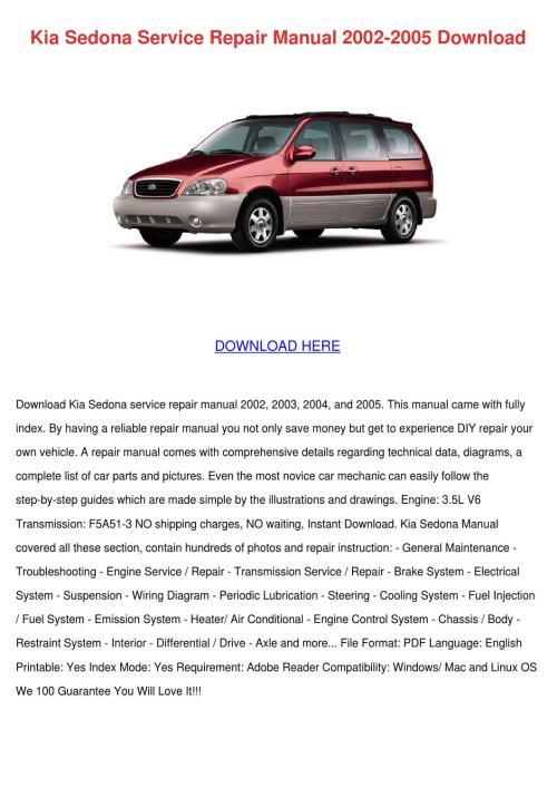 small resolution of kia sedona service repair manual 2002 2005 do