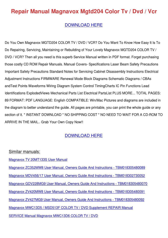 hight resolution of repair manual magnavox mgtd204 color tv dvd v