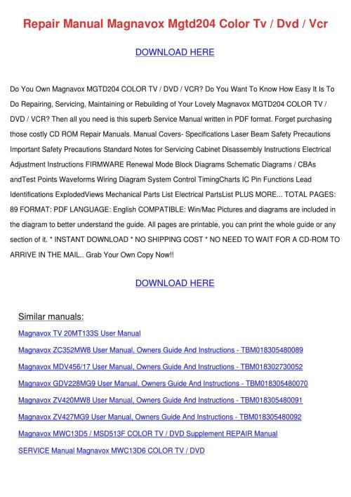 small resolution of repair manual magnavox mgtd204 color tv dvd v
