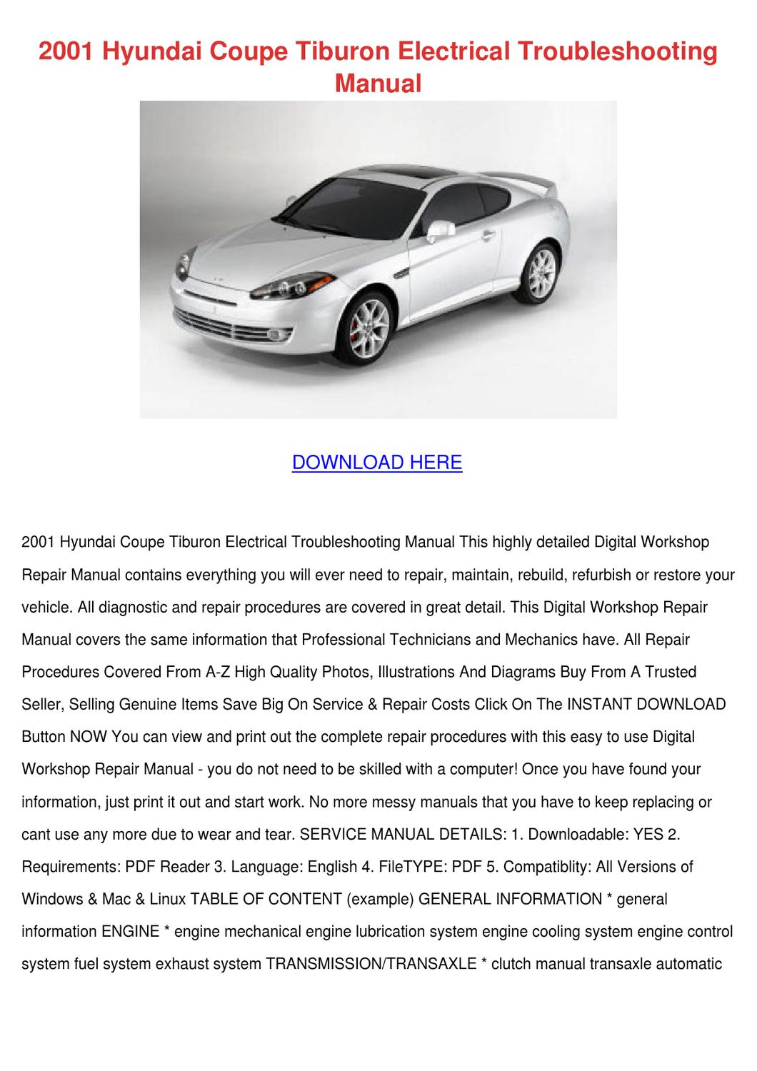 hight resolution of 2001 hyundai coupe tiburon electrical trouble