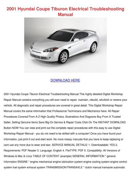 small resolution of 2001 hyundai coupe tiburon electrical trouble