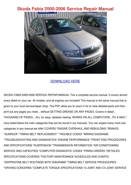 hight resolution of skoda fabia 2000 2006 service repair manual