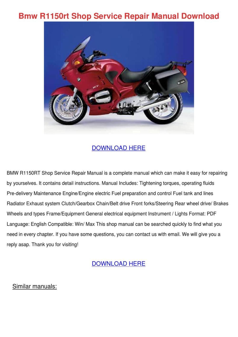 medium resolution of bmw r1150rt shop service repair manual downlo