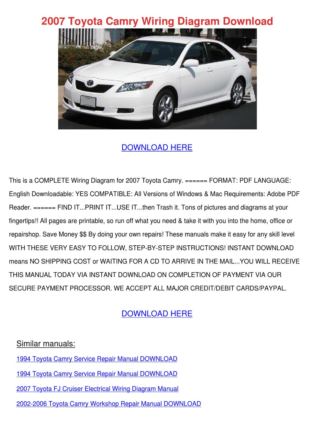 hight resolution of toyotum camry wiring diagram download