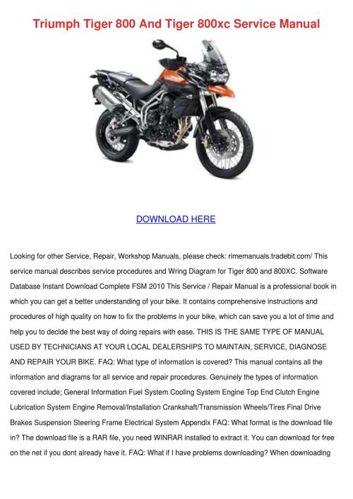 small resolution of triumph tiger 800 and tiger 800xc service man