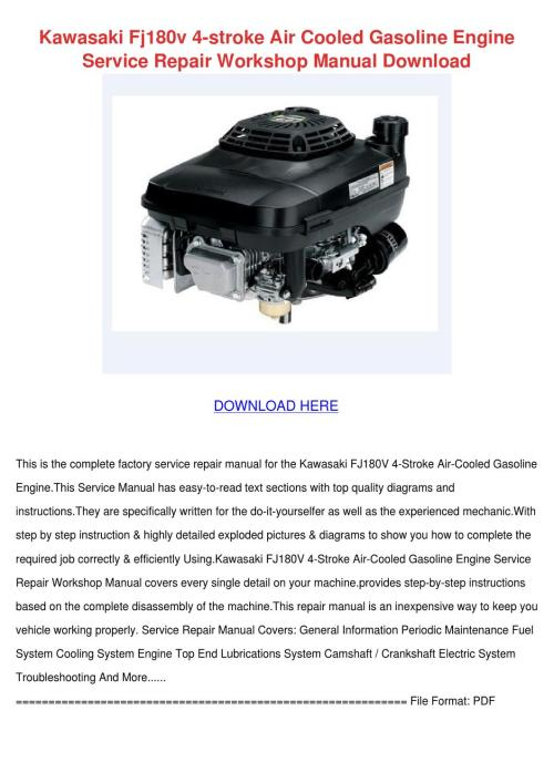 small resolution of kawasaki fj180v 4 stroke air cooled gasoline