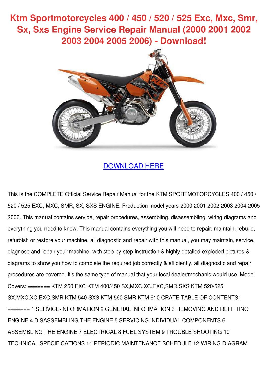 hight resolution of ktm sportmotorcycles 400 450 520 525 exc mxc by 2004 ktm 125 sx 2006 ktm 450 sx