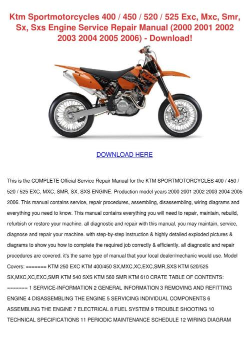 small resolution of ktm sportmotorcycles 400 450 520 525 exc mxc by 2004 ktm 125 sx 2006 ktm 450 sx
