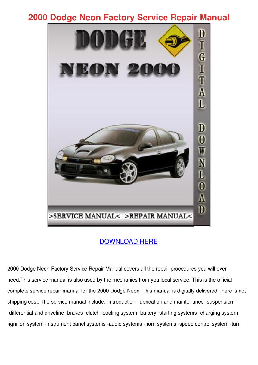 2000 dodge neon horn wiring diagram for motorhome batteries factory service repair manual by