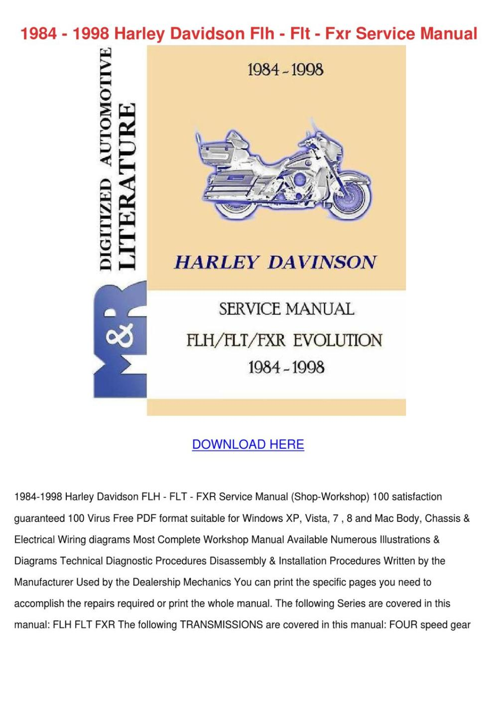 medium resolution of 1984 1998 harley davidson flh flt fxr service