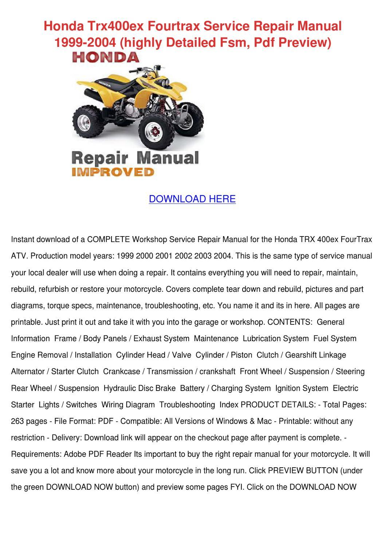 hight resolution of honda 400ex wiring pdf www casei store u2022honda trx400ex fourtrax service repair manual by honda