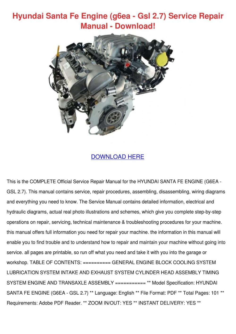 medium resolution of hyundai santa fe engine g6ea gsl 27 service r by antwanworden issuu 2001 santa fe wiring schematic